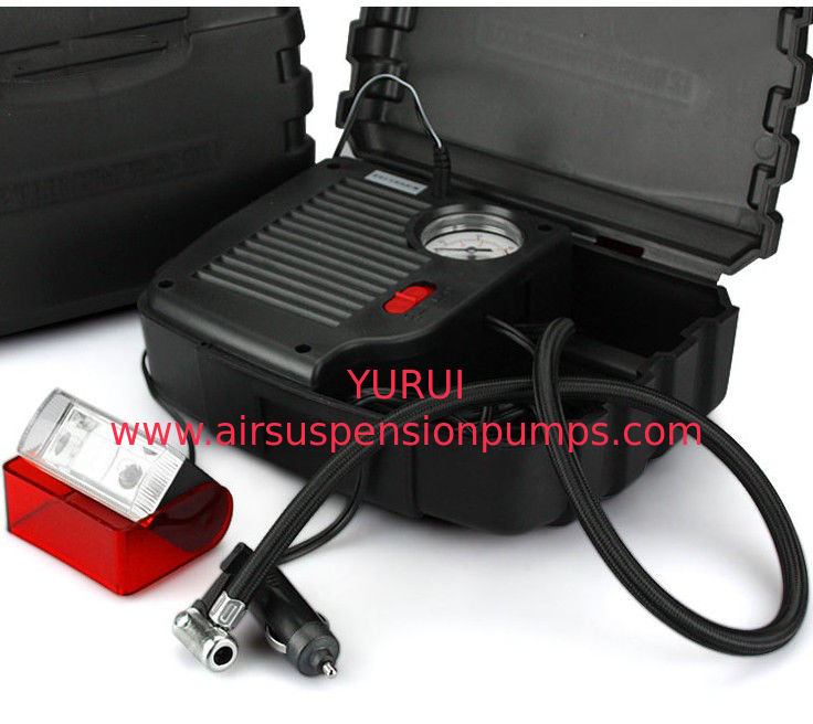 Black High Power Car Air Compressor With Plastic Box One Year Warranty